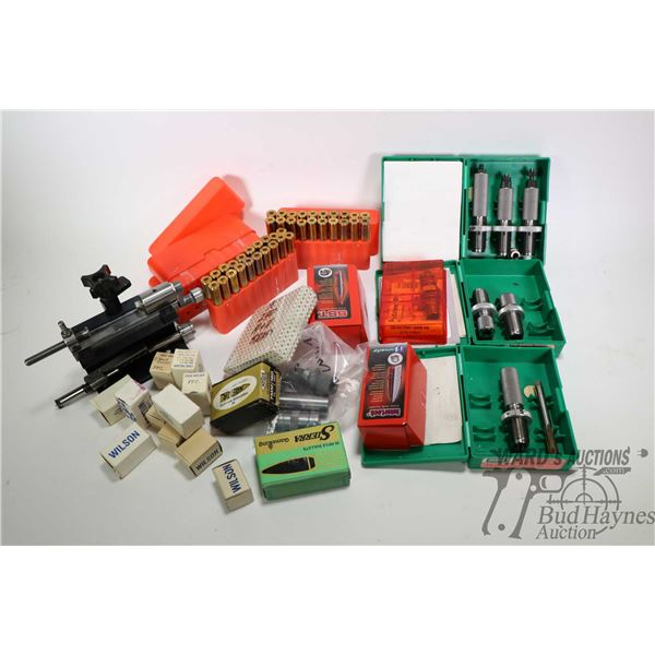 Selection of loading supplies including RBCS 375 FLGD two die set P/N 55000, a RCBS 375 FLGD neck si