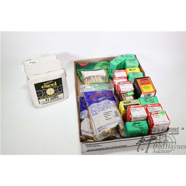 Selectin of bullets and brass including 500 count box of  Premium Excel 45 Auto 230 grain bullets, f