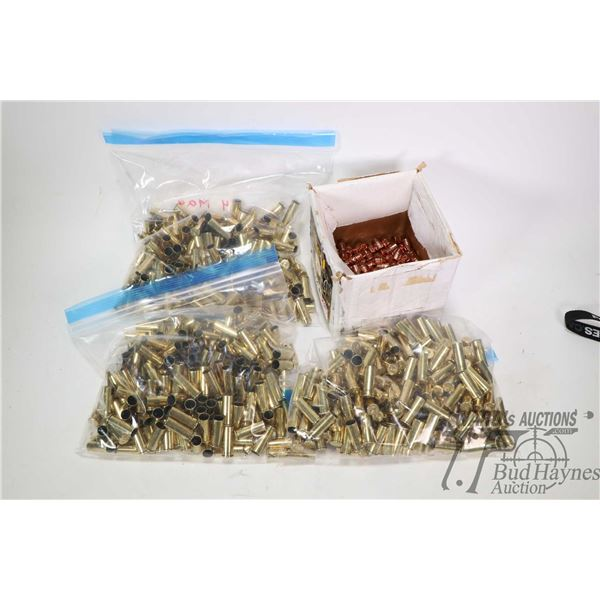 Approximately 590 count .44 magnum brass cases and approximately 200 count .44 cal 240 grain jackete