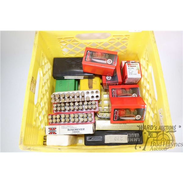 Plastic milk crate containing a large selection of assorted brass and Hornady bullets including appr