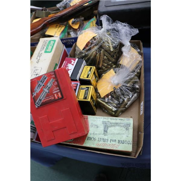 Selection of ammo. supplies including a Hornady 300 Win mag die, a Redding powder and bullet scale,