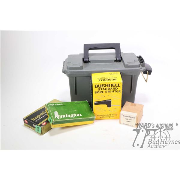 Plastic Plano ammo box and contents including Bushnell Standard Bore Sighter in box, 19 count box of