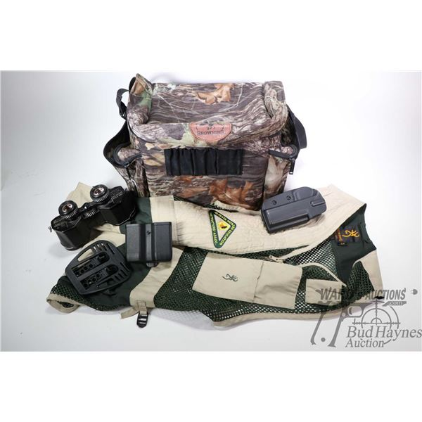 Camo. covered Browning canvas bag and contents including Alberta Hunter Education Instructor Associa