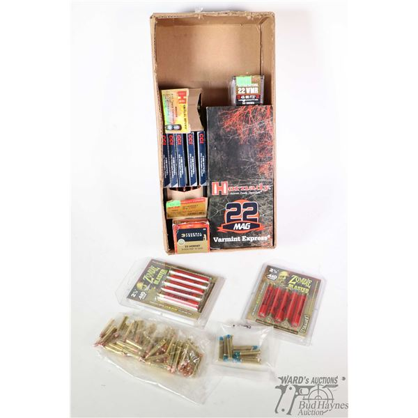 Selection of ammo. including 500 rounds of Hornady .22 Magnum Varmint Express, full 50 count box of