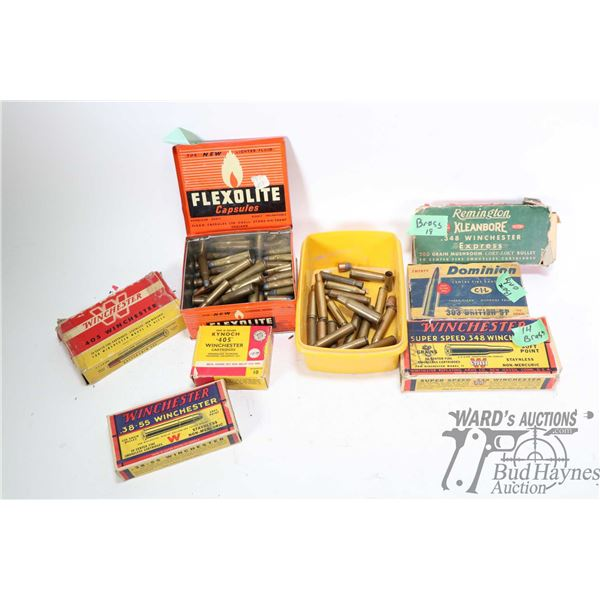 Selection of vintage ammo, ammo boxes and brass including full 20 count box of Winchester .405 Winch