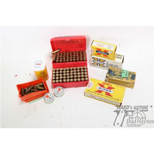 Selection of ammo and brass including full 20 count box of Western Super X .32 Winchester, full 50 c
