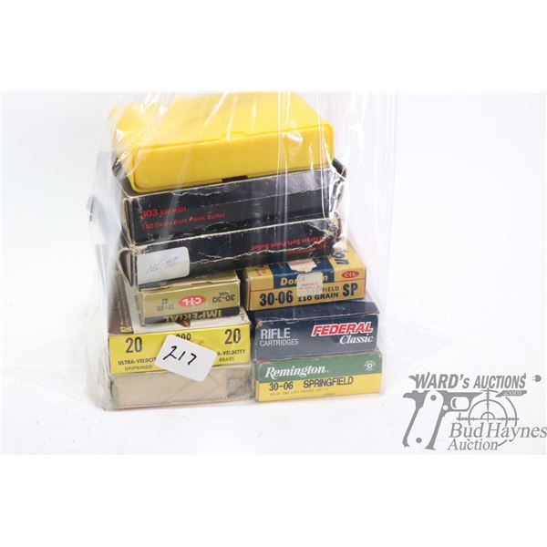 Selection of ammo including full 20 count box of Remington .30-06 Sprg 180 grain, two Weatherby boxe