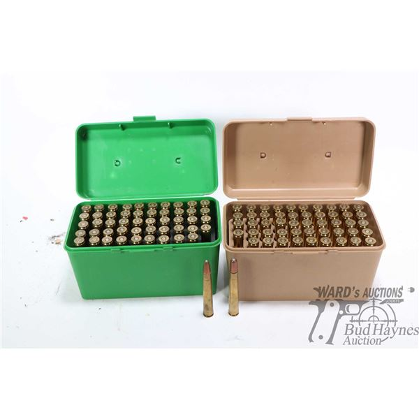 Two 50 count Case-Gard ammo cases containing a total of 90 rounds of 375 H&H Magnum reloads