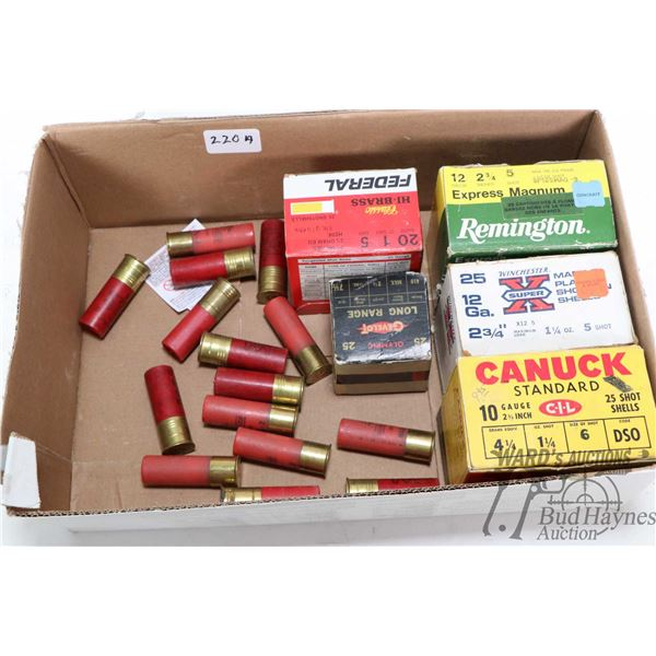"""Selection of shot gun ammo including full 25 count box of Kynoch 10 ga. 2 3/4"""", approximately half f"""