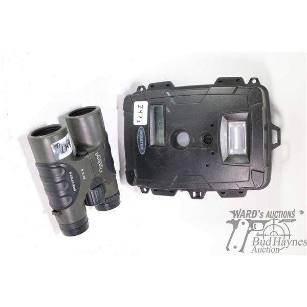 Outland Celeston 8X42  waterproof binoculars and a Moultrie game camera, not tested