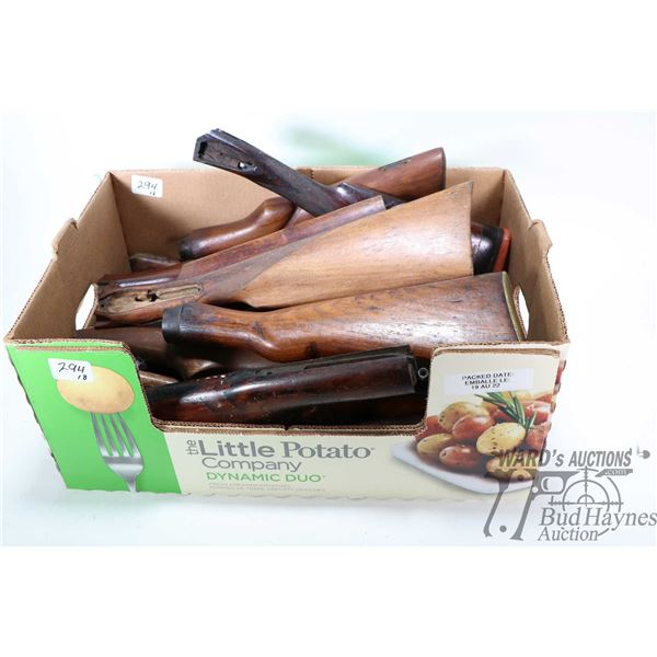 Large selection of wooden rifle stocks, assorted and of unknown fitment