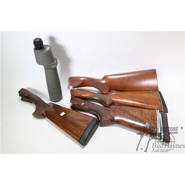 Four assorted rifle stock of unknown fitment and a Bushnell Century II spotting scope
