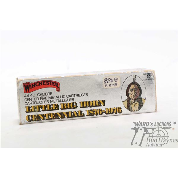 Full 20 count box of Winchester Little Big Horn Centennial .44-40 cal ammunition with head stamp W-W