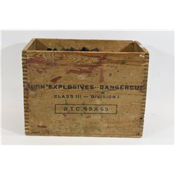 Fired 16 Gauge Shells in Wooden Explosives Box