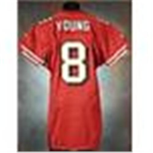 235e6045400 Image 1   1997 Steve Young San Francisco 49ers Game-Used   Autographed Red  Mesh