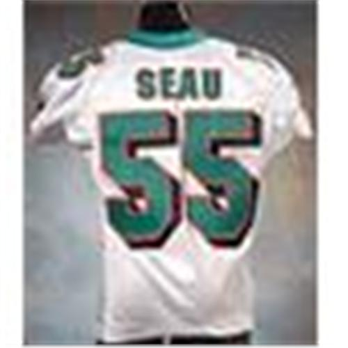 hot sale online c0e8b 4c8aa 2003 Junior Seau Miami Dolphins Game-Used White Mesh ...