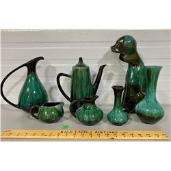 LOT OF 7 BLUE MOUNTAIN POTTERY PIECES - INCLUDES DOG