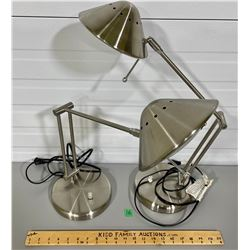 LOT OF 2 CHROME DESK LAMPS - WORKING