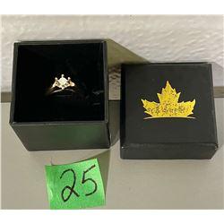 10 K YELLOW GOLD RING W/ .15 CT DIAMOND - LADIES SZ 5.5