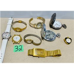 LOT OF 9 WATCHES (NEED BATTERIES OR REPAIR)