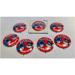 LOT OF 7 BATMAN 'CRIMEFIGHTER' PINS