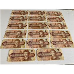 LOT OF 9 CIRCULATED ONE DOLLAR BILLS & 17 CIRCULATED TWO DOLLAR BILLS