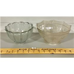 LOT OF 2 VINTAGE CUT GLASS LIGHT SHADES