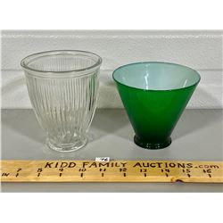 LOT OF 2 VINTAGE GREEN & CLEAR GLASS LIGHT SHADES