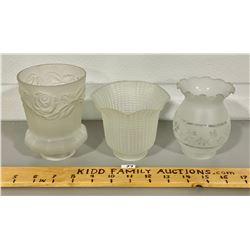 LOT OF 3 ANTIQUE BRIDGE LAMP GLASS SHADES