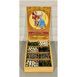 AMERICAN HERITAGE DELUXE MARBLE COLLECTION IN WOOD CARRYING CASE W/ GOOD GRAPHICS