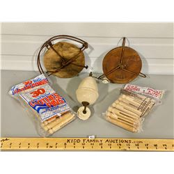 LOT OF 3 CLOTHES LINE PULLEYS & PINS