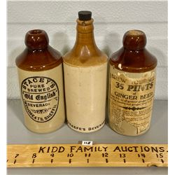LOT OF 3 GINGER BEER BOTTLES