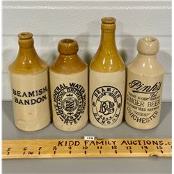 LOT OF 4 GINGER BEER BOTTLES
