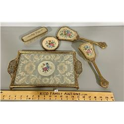 5 PCS PETIT POINT DRESSER SET W/ TRAY