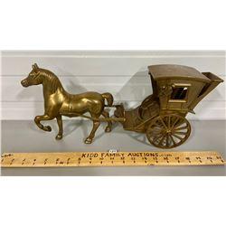 BRASS DECO HORSE & HACKNEY CARRIAGE