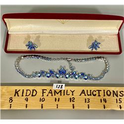 SIGNED SHERMAN BLUE CRYSTAL NECKLACE & EARRINGS W/ CASE