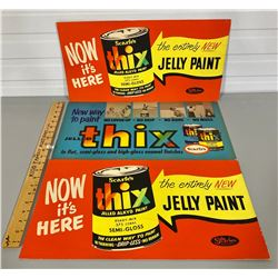 LOT OF 3 ADVERTISING BOARDS - SCARFE'S PAINTS
