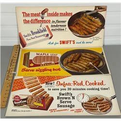 LOT OF 3 ADVERTISING BOARDS - SWIFT & MAPLE LEAF FOODS
