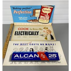 LOT OF 3 ADVERTISING BOARDS - ALCAN & PERFECTION MILK