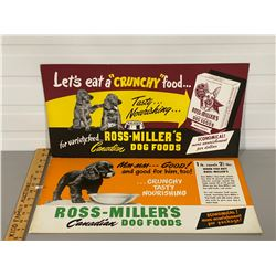 LOT OF 2 ADVERTISING BOARDS - ROSS-MILLER'S DOG FOOD