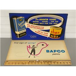 LOT OF 2 ADVERTISING BOARDS - CHAN WAX & BAPCO PAINTS