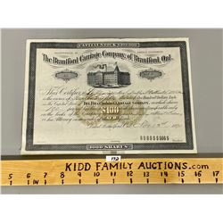 1890 STOCK CERTIFICATE FOR BRANTFORD CARRIAGE COMPANY - VALUE $100