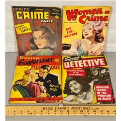 LOT OF 4 VINTAGE WOMEN'S CRIME MAGAZINES