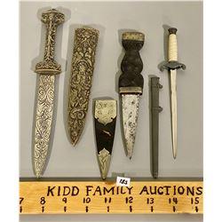 LOT OF 3 VINTAGE KNIVES / DAGGERS W/ SHEATHS