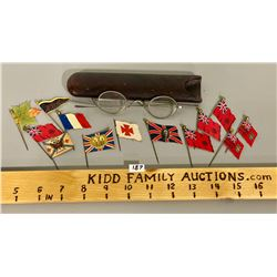 LOT WITH VINTAGE SPECTACLES & FLAG PINS