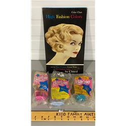 CLAIROL 1960'S HAIR COLOUR CHART & 3 X MCDONALD'S TOY BARBIES - SEALED