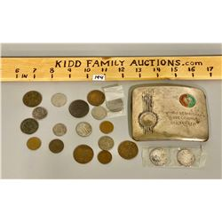 LOT OF MISC COINS & CIGARETTE CASE