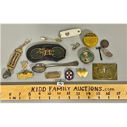 MISC LOT OF UNUSUAL COLLECTIBLES - PINS, TINS, GLASSES, ETC