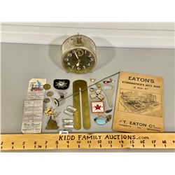 MISC LOT OF COLLECTIBLES INCLUDING EATON'S STENO NOTEBOOK & WESTERN ALARM CLOCK