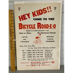 1962 AYLMER THE SAFETY ELEPHANT BIKE-RODEO POSTER
